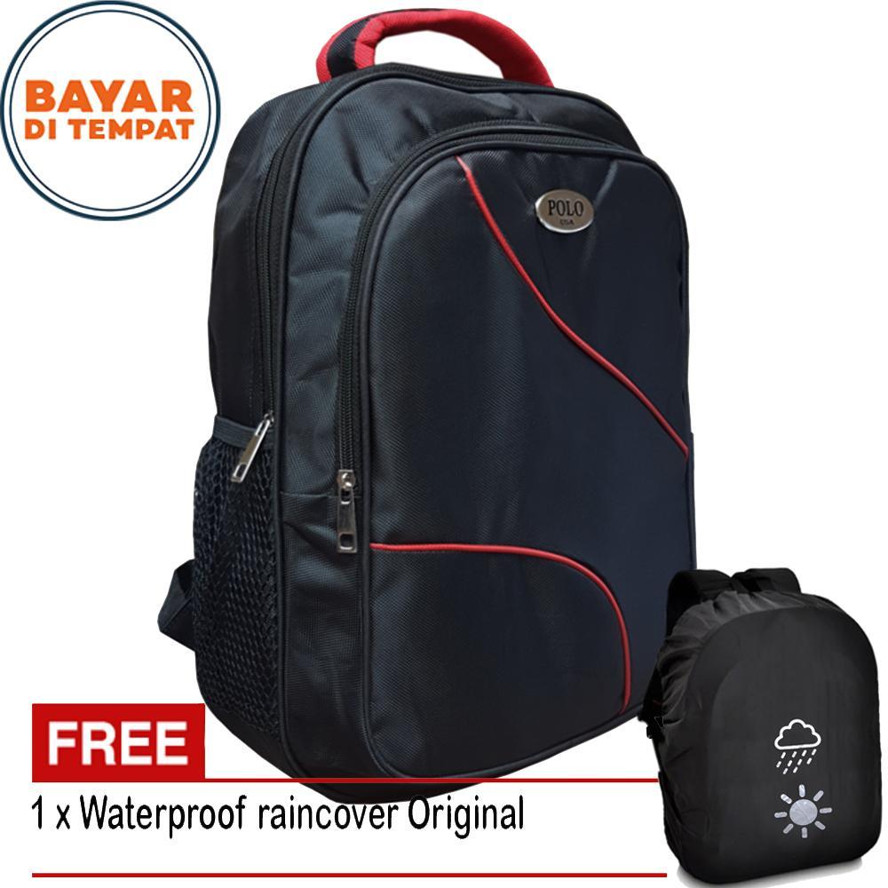 Polo Tas Ransel Outdoor Sport Simple Casual tas murah tas pria tas wanita -  free raincover 4437a15257