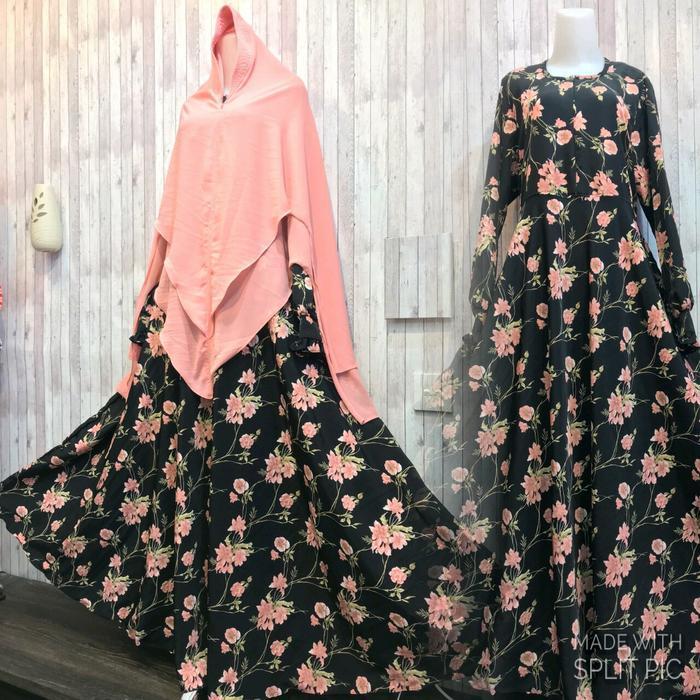 Adzra Gamis Murah syari /busana muslim wanita - Saidah Dress - Hitam
