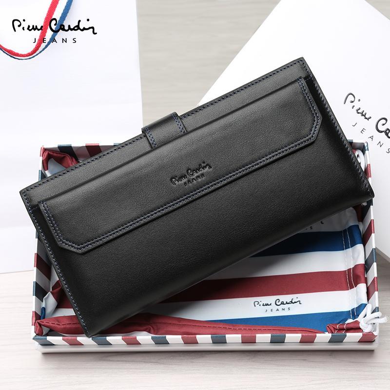 Pierre Cardin tas tangan pria dompet model panjang banyak tempat kartu  gesper Dompet Kapasitas Besar dompet b87ce8a6dd