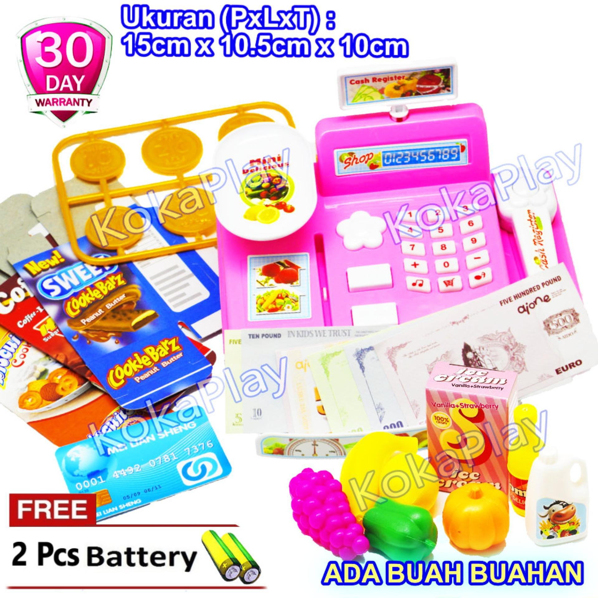 KokaPlay Cash Register Princess Barbie 3138A Mainan Anak Edukasi Laki Laki Perempuan Kasir Kasiran Keranjang Buah Buahan Belanja + Free 2 Baterai