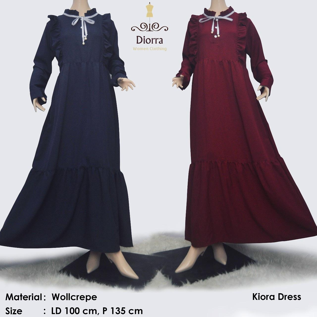 Kiorra Dress Ruffle| Gamis Remple Kawaii warna hitam, pastel| longdress import