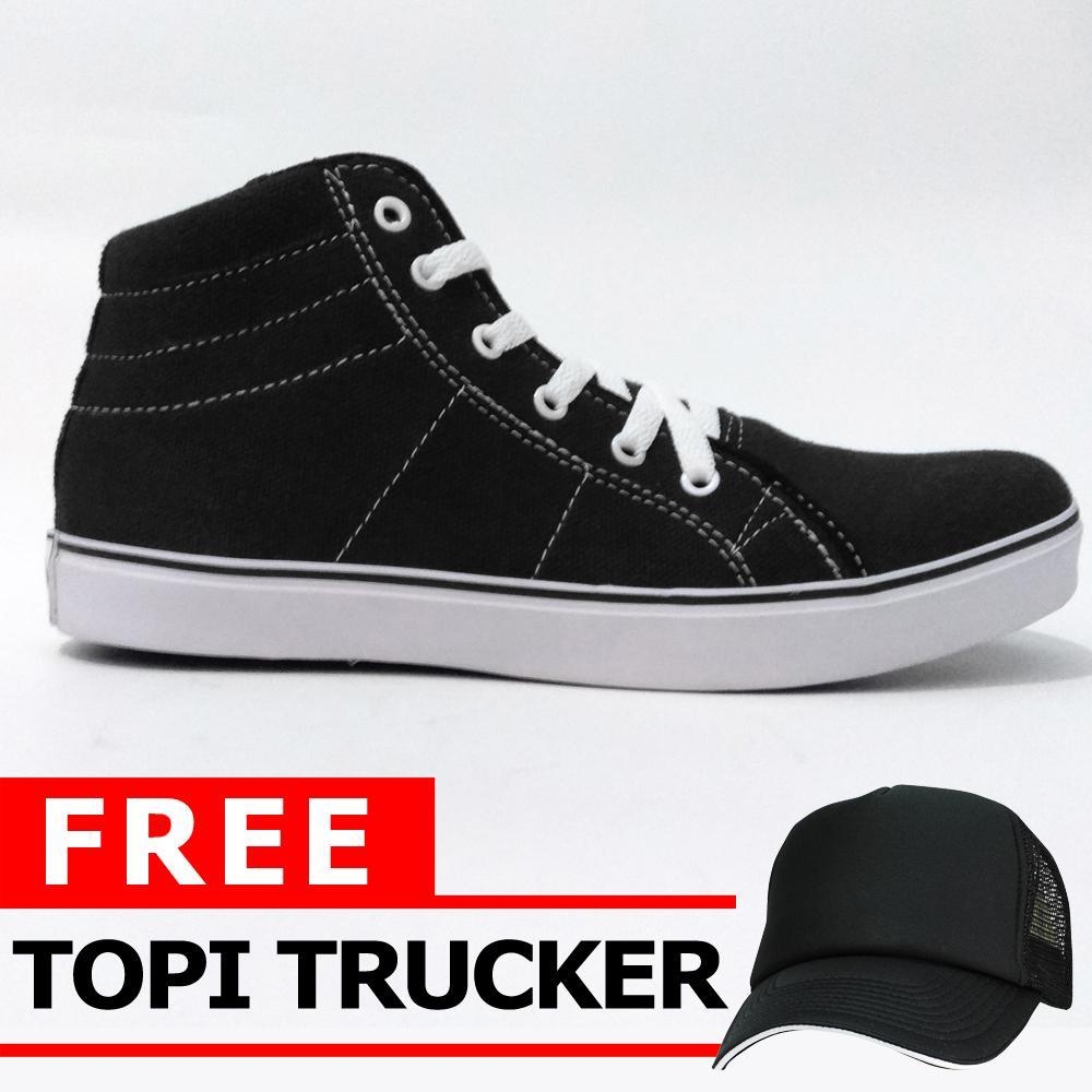 Just Cloth Sepatu Pria Sneakers Casual Vans Authentic Unisex + Free Topi Trucker - TINGGI