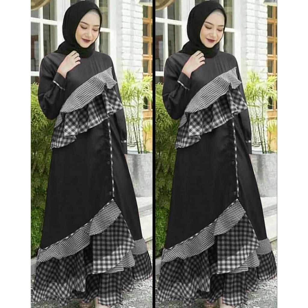 JAKARTA GROSIR -  ajijah black mc Fashion Dress / Atasan / Tunik / size M, L dan XL