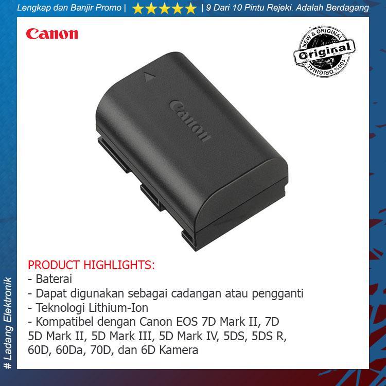 Canon Battery LP-E6N for EOS 7D Mark II, 7D, 5D Mark II, 5D Mark III, 5D Mark IV, 5DS, 5DS R, 60D, 60Da, 70D, dan 6D Kamera - Hitam