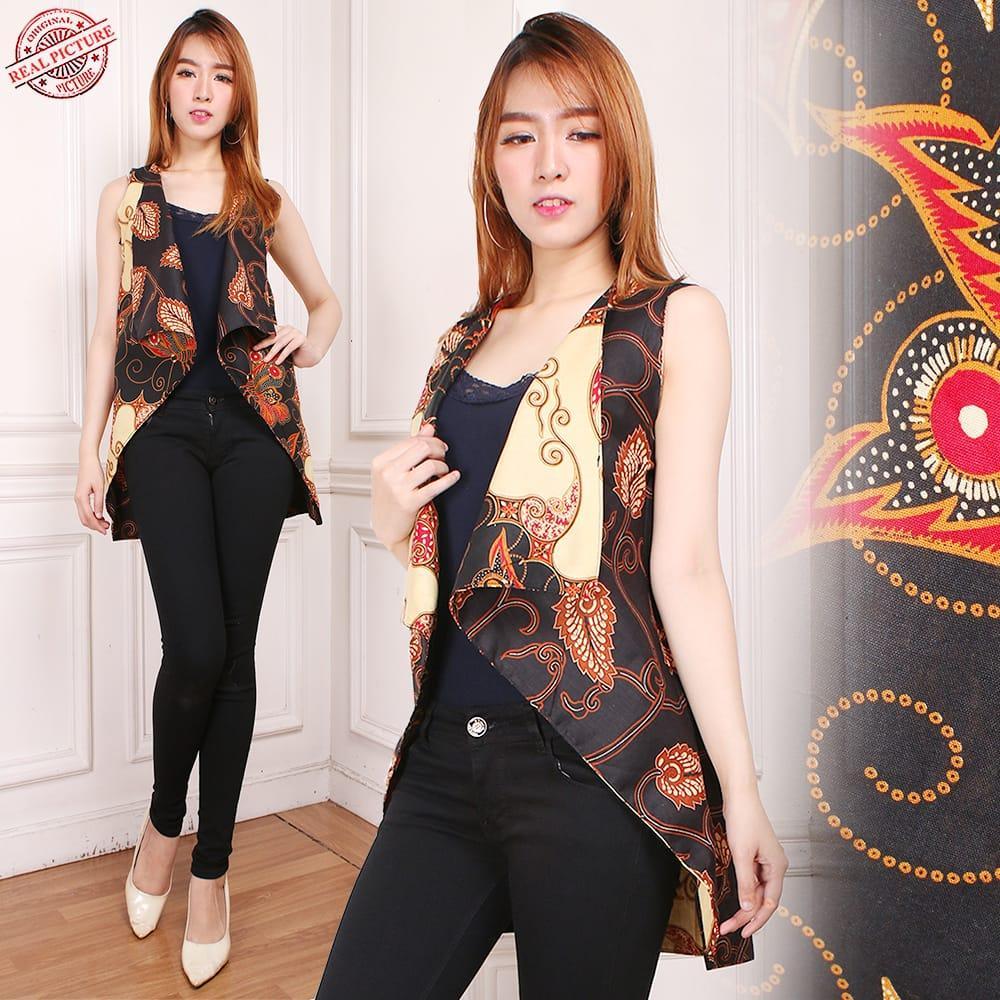 Glow Fashion Atasan blouse blazer bolero batik bolak balik wanita jumbo shirt Rafela fit to XXL