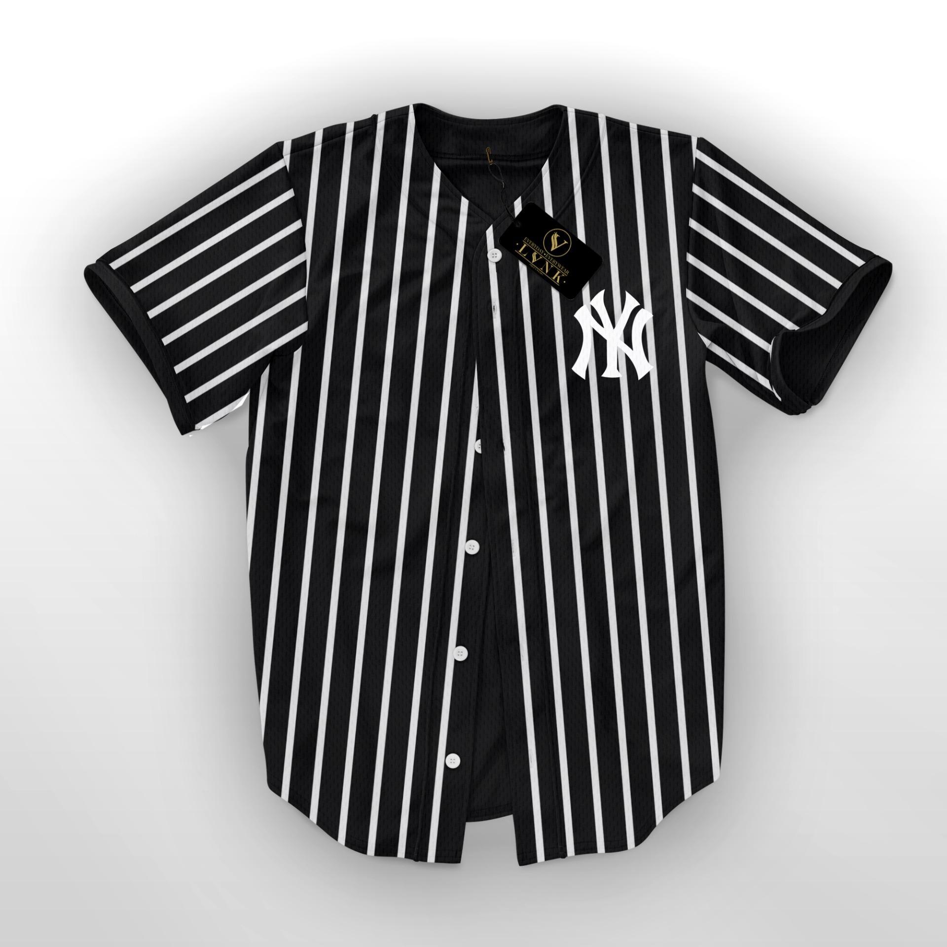 LVNK - Jersey Baseball / Baju Baseball / Baju Hiphop NY Salur Hitam
