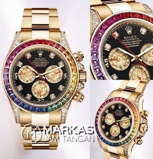 Jam Tangan Pria Rolex Daytona Cosmograph Rainbow Stainless Steel