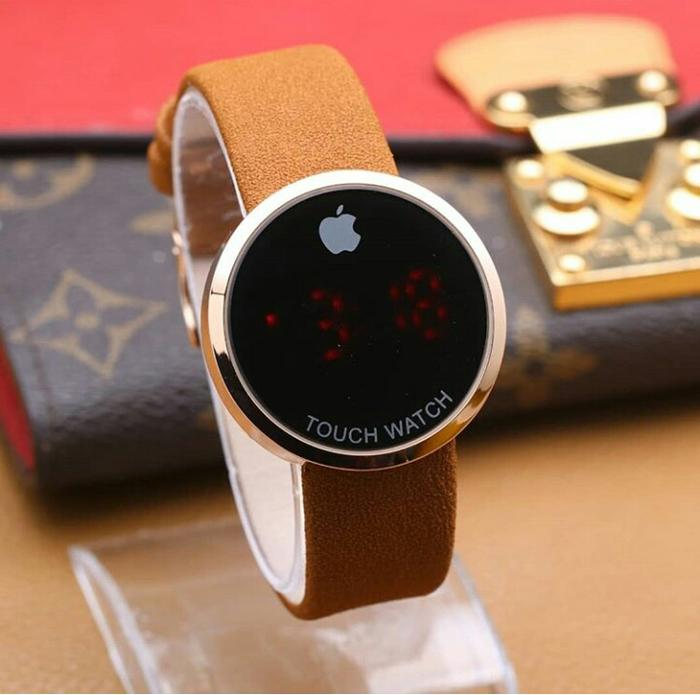 Jam Tangan Fashion Wanita Iphone Bulat Touch Beludru Coklat