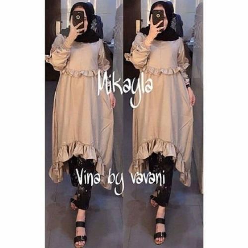 """MIKAYLA IKN"" Long Tunik Gamis Bahan Balotely Wolfice Katun Rubiah Spandek Panjang Hijab Casual Pakaian Wanita Trand Terbaru Fashionable"