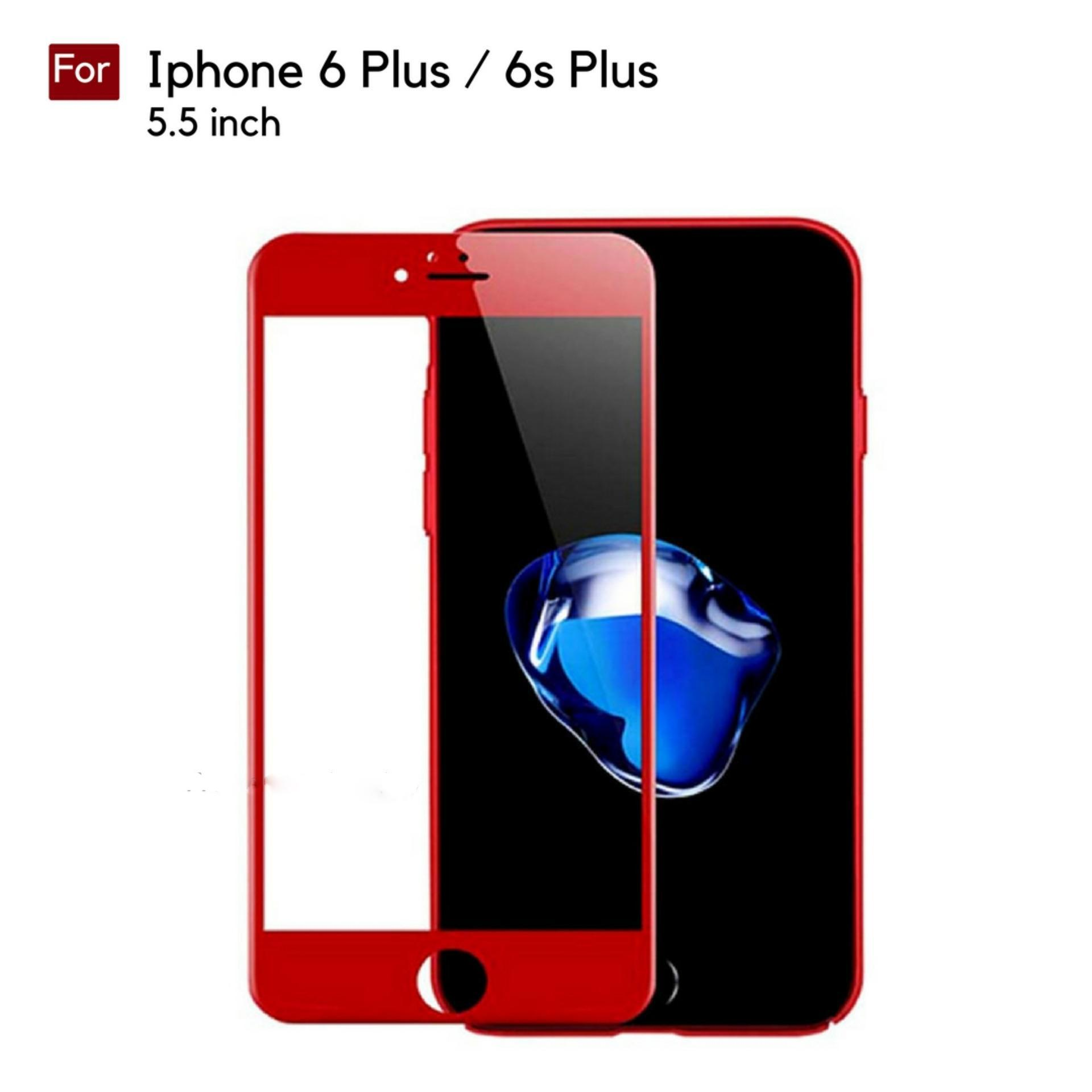 RenzanaAcc Tempered Glass Warna Full Corning Screen Protector For Iphone 6 Plus / 6s Plus (5.5 inch) - Merah