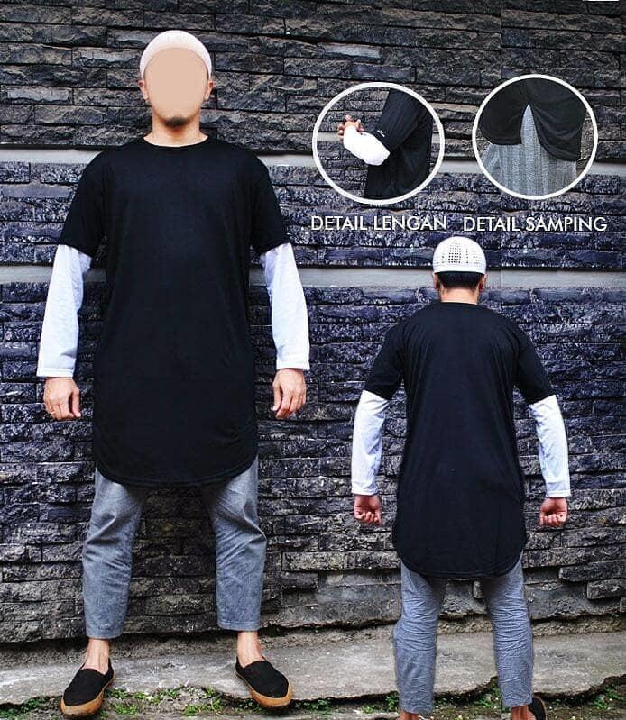 DISKON Gamis Kaos Pakistan Kombinasi Hitam dan Putih Baju Koko kurta Panjang TERMURAH