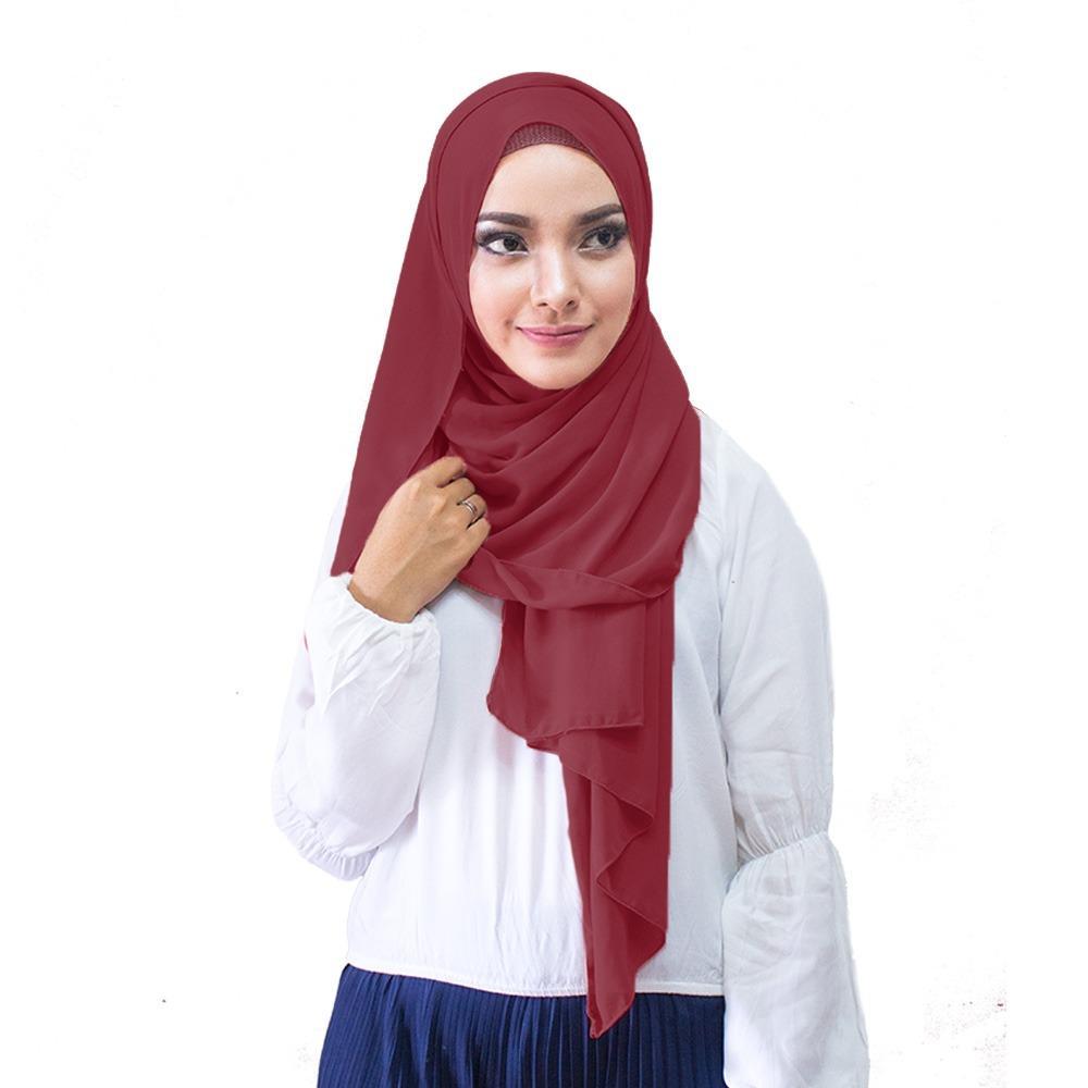 Hijabku Murah Pasmina Ceruti Kerudung Modis - [Warna Marun]