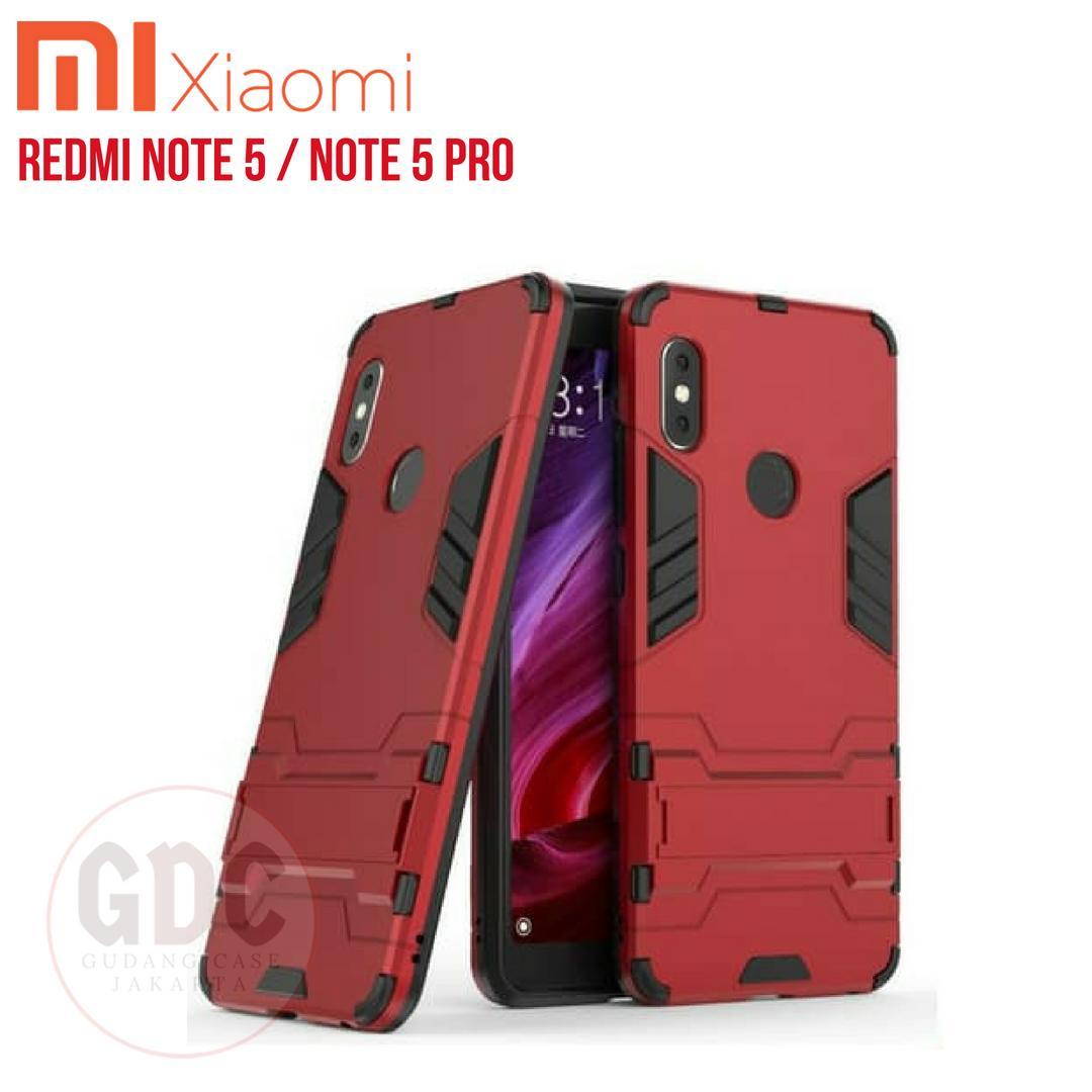 Xiaomi Redmi Note 5 / Note 5 Pro Case Ironman Hybrid With Kick Stand - Merah