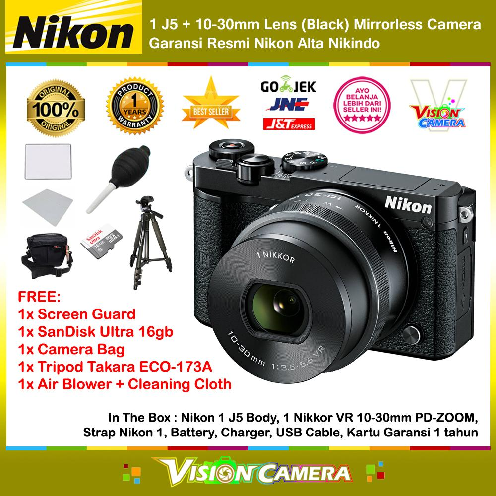NIKON 1 J5 10-30mm VR Lens Black WiFi 4K Mirrorless Camera Garansi Resmi 1th + Screen Guard + MicroSD SanDisk Ultra 16gb + Air Blower + Cloth + Camera Bag + Tripod Takara ECO-173A