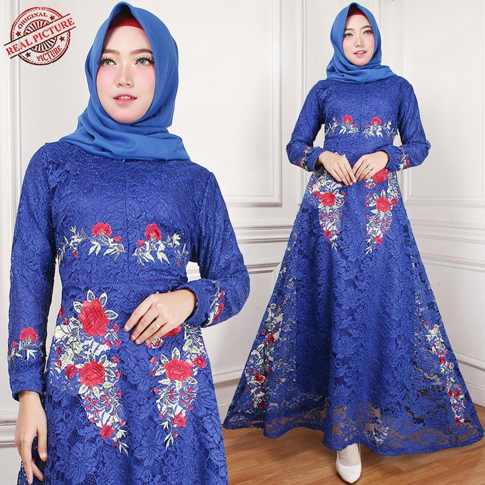 Pakaian gamis wanita bisa pakai untuk acara pernikahan mau pun bisa dipakai untuk sehari atau santai Maxi naomi  Hasanah H-HH142KR Biru Dongker