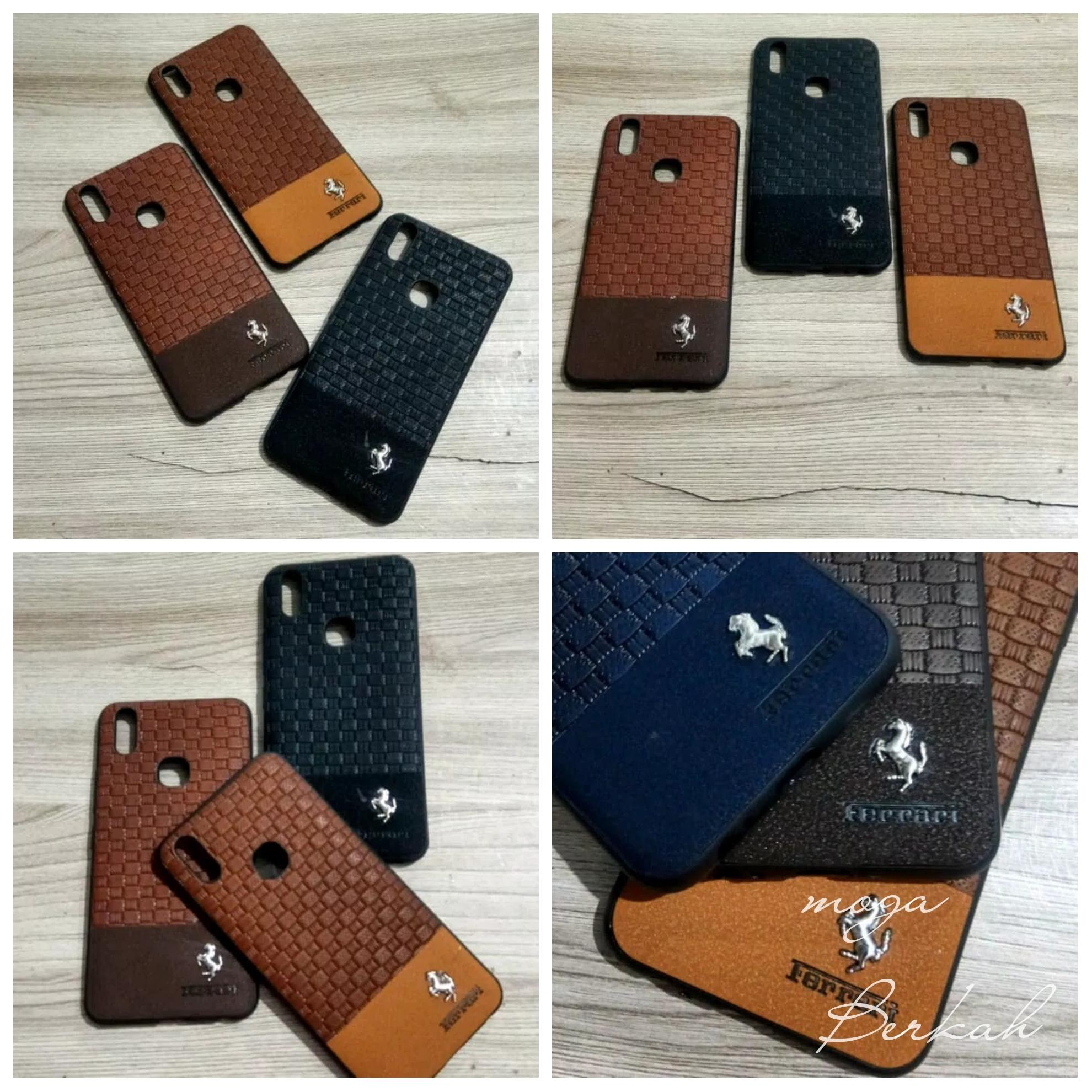 Case vivo V9 case leather logo ferari vivo v9 pro case kulit sintetis vivo v9 plus
