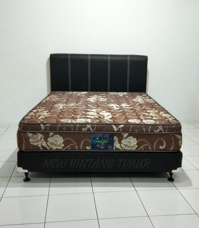 Spring Bed Porter Vista Plush Top Coklat 180 x 200 HB Abel Full Set
