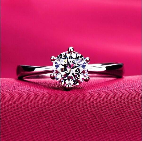 Cincin Silver Lapis Emas Putih Batu Berlian Klasik Simpel Wedding Ring Cincin Tunangan 3 Size Ukuran