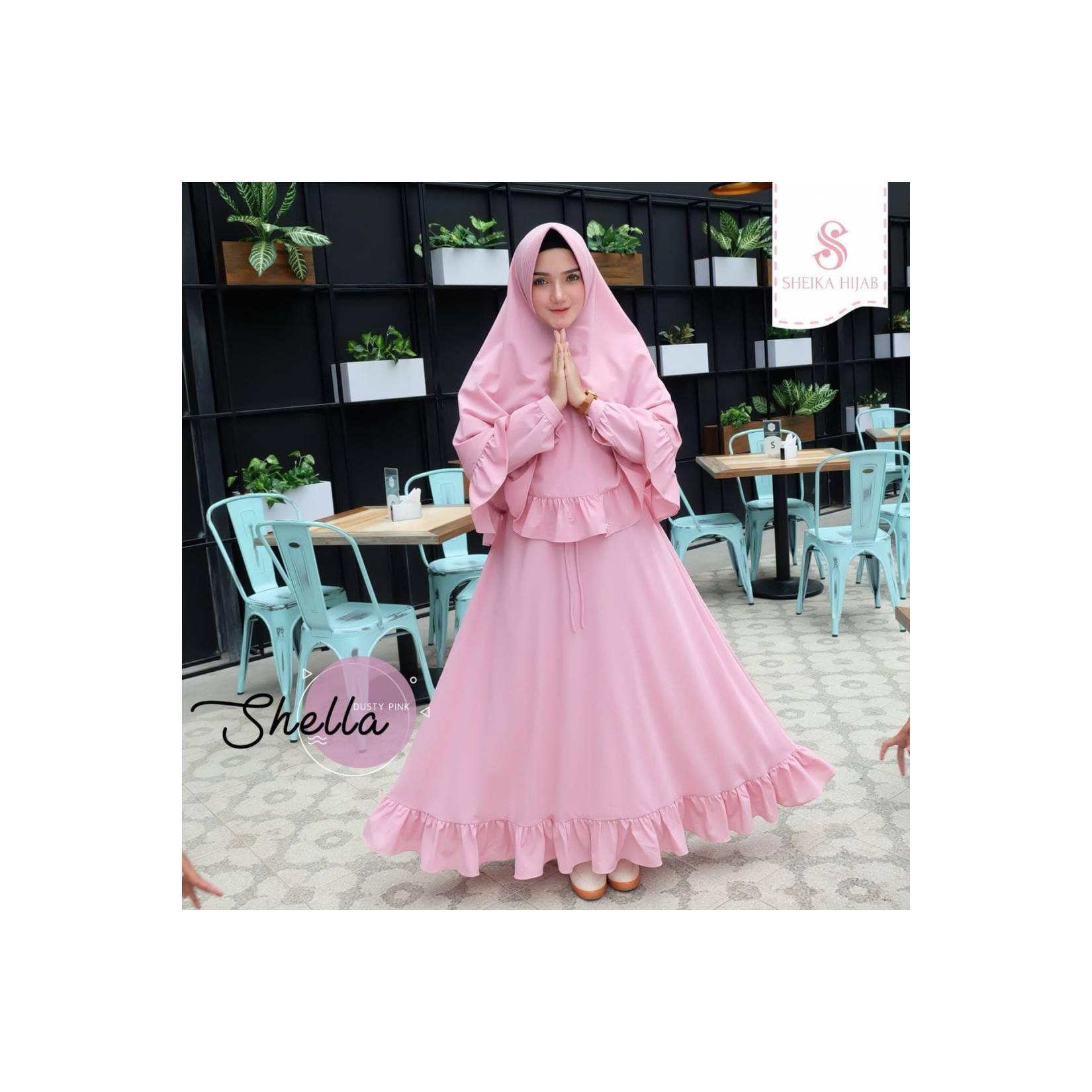 PROMO ORIGINAL TERBARU Gamis Sheika Hijab Shella Dress Dusty Pink baj