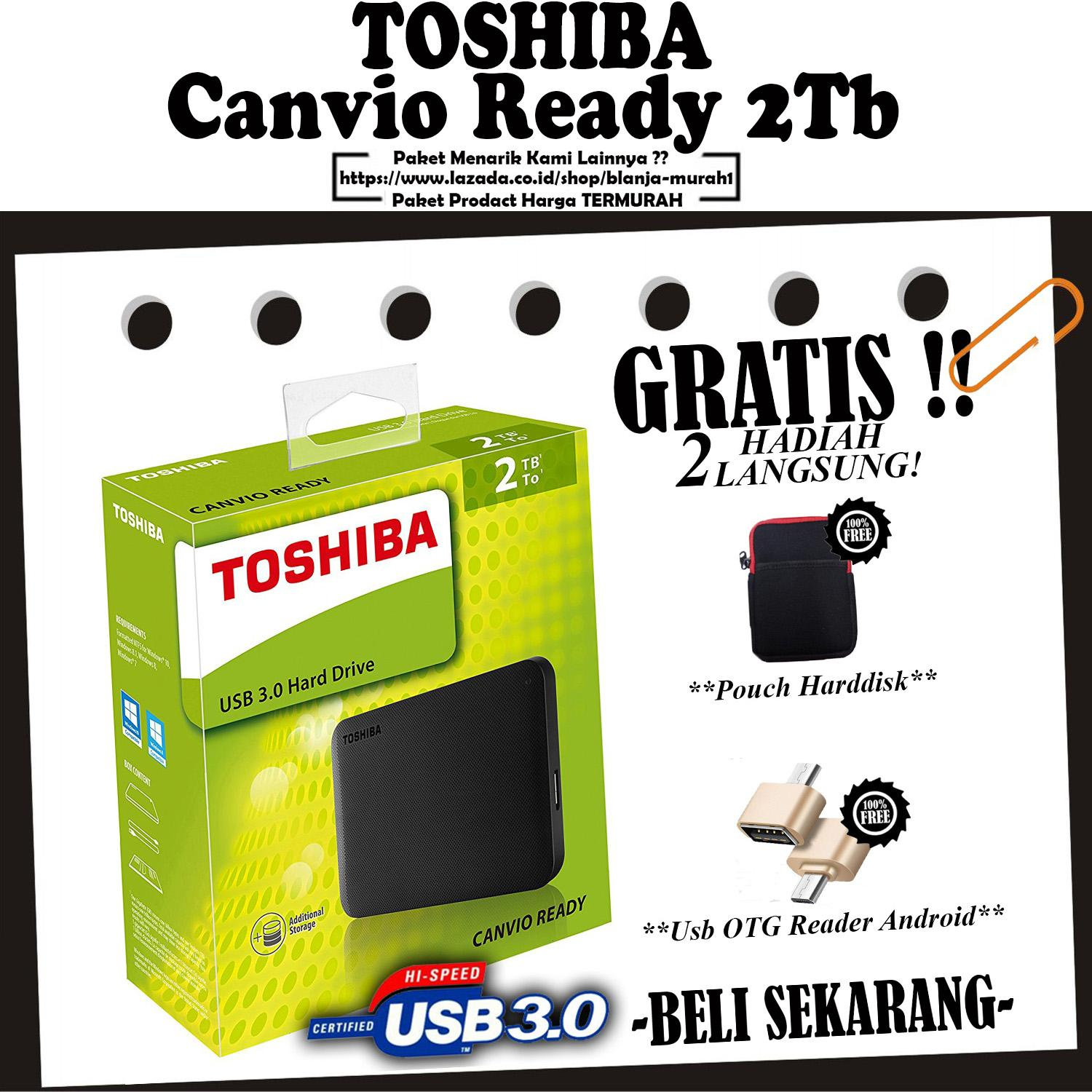 Toshiba Harrdisk External Canvio Ready 2TB - HDD External 2.5 Black - GRATIS Pouch HDD & Usb OTG Reader Android