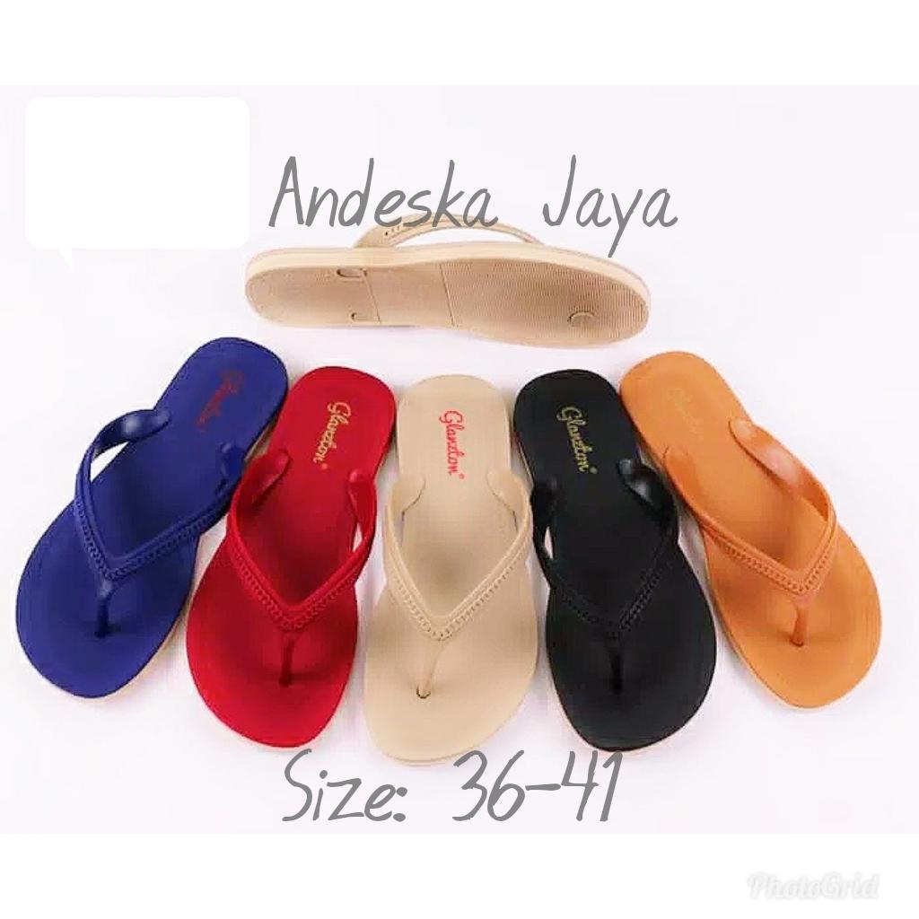 Sandal Jepit Wanita Model Terbaru Murah Bagus Warna Random   Sandal Flip  Flop Wanita - Andeska 146cfbce7a