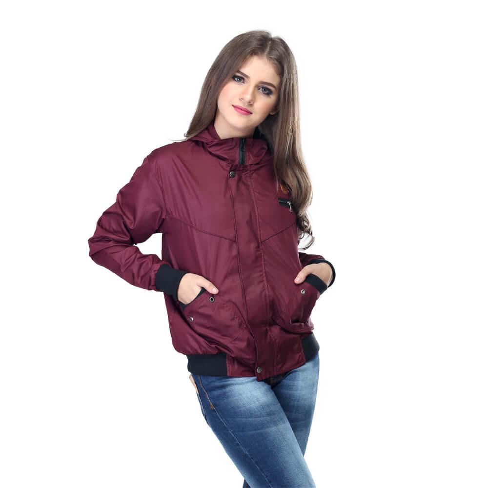 Jaket Parasut wanita - Despo cewek merah maroon original distro murah keren terbaru - HEXA MALL