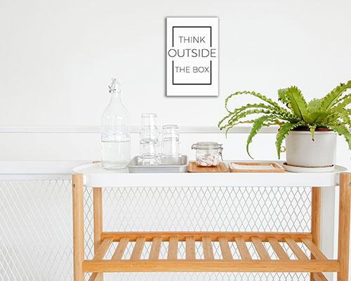 Think Outside The Box - Frameless / hiasan dinding (size: 20x30)