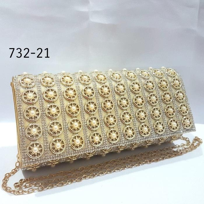 Tas Pesta Kondangan Mutiara Mata Kristal Clutch Party Bag Impor - Gold 7f4b645fc1