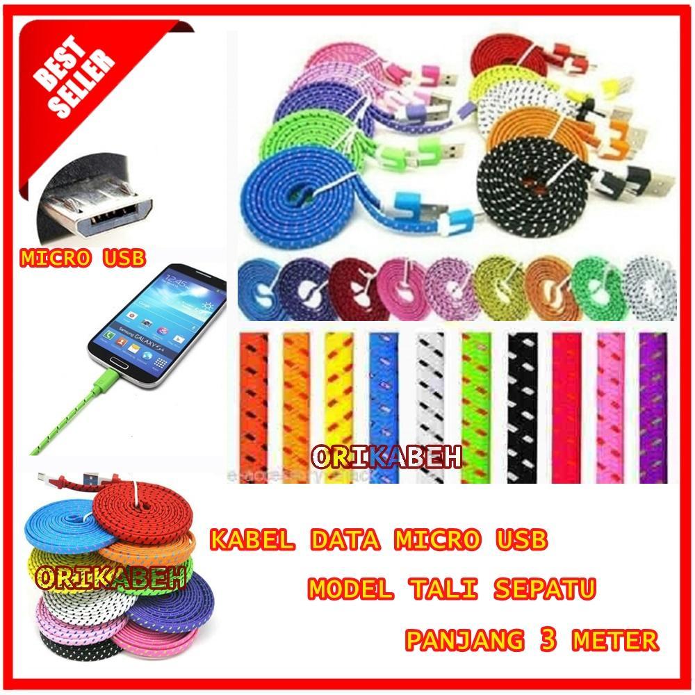 Kabel Data Micro USB Full Colour Panjang 3 Meter - Model Tali Sepatu Pipih Warna Acak [ orikabeh ]