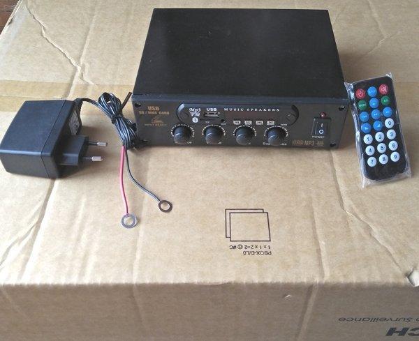 Rakitan Amplifier Stereo USB MP3 FM Bluetooth Player DC12V dengan  bonus Adaptor 220V