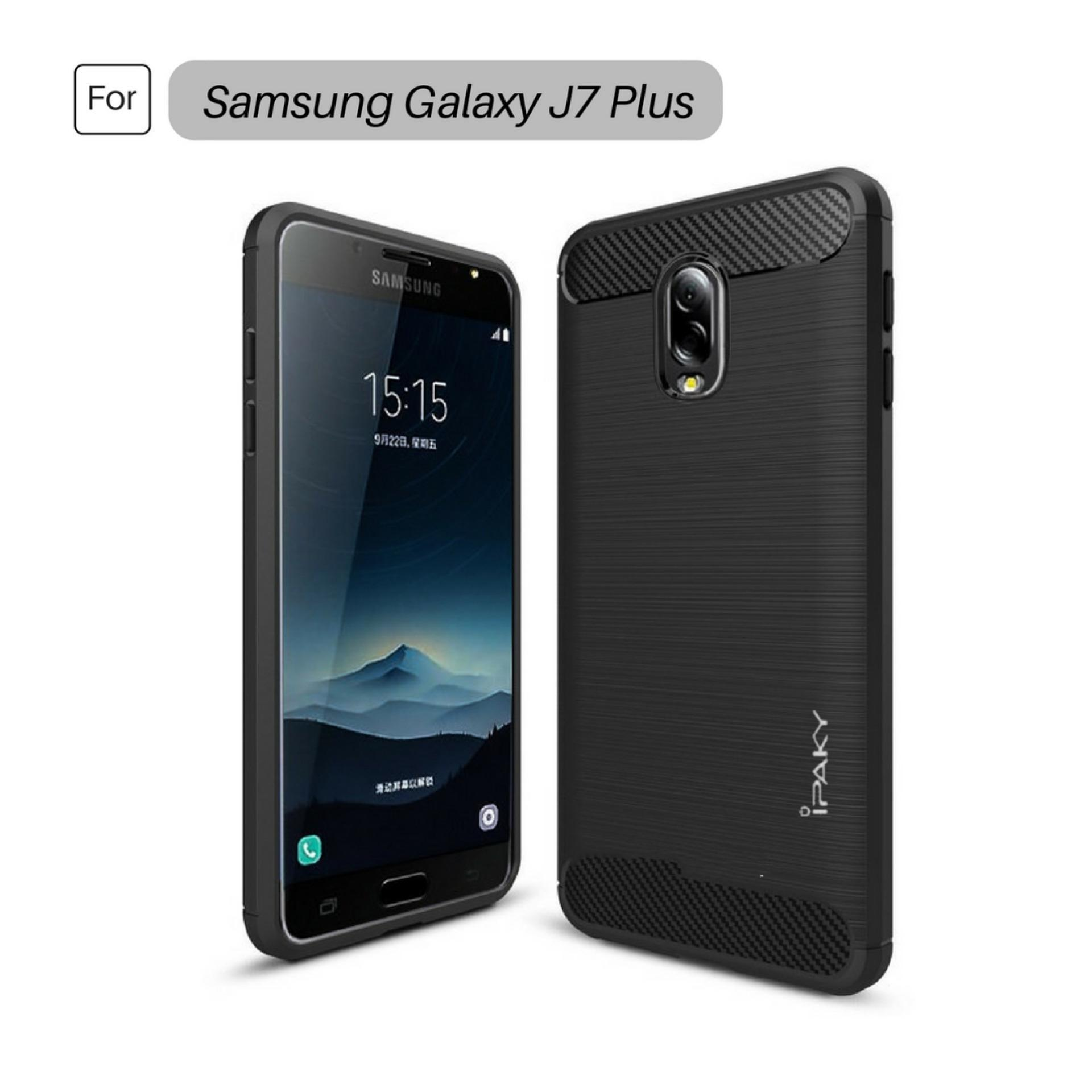 Annisa Store Super Premium Quality Carbon Shockproof Hybrid Case for Samsung Galaxy J7 Plus C710 Dual Camera - Black