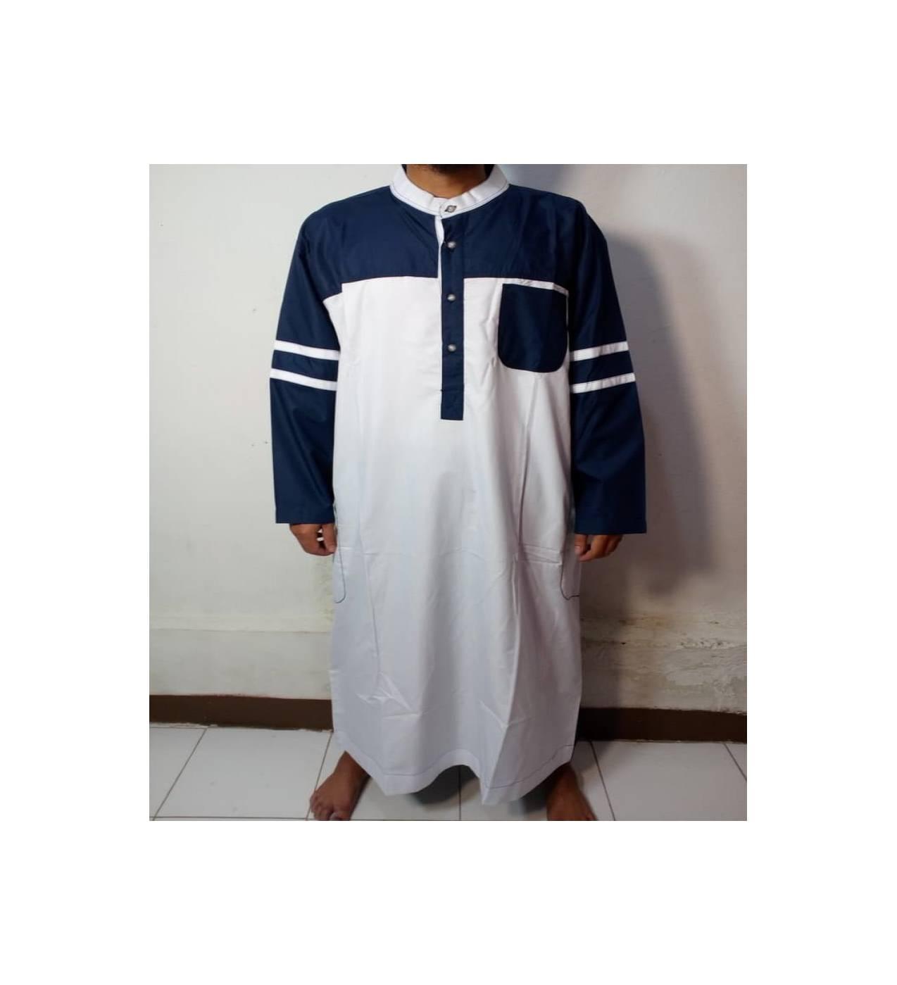 Baju Gamis-Baju Jubah Pria Warna putih-biru navi Lengan Garis-Samase