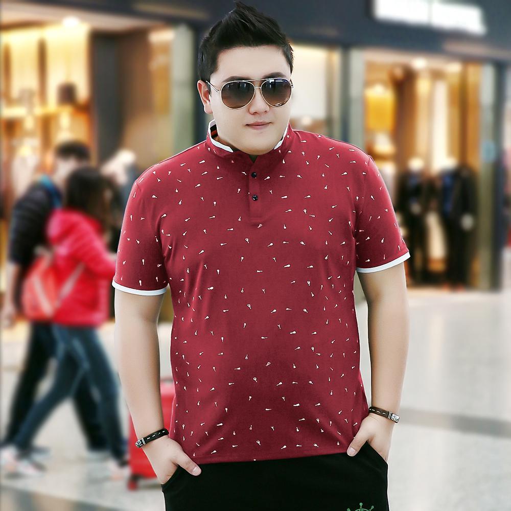 Longgar Kerah Turndown XXL Gemuk Kemeja POLO Pakaian Pria Lengan Pendek Kaus (Berwarna Merah Keunguan