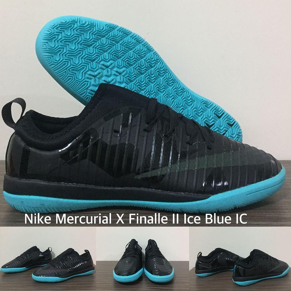 SEPATU FUTSAL NIKE MERCURIAL X FINALLE II ICE BLUE IC + GRADE PREMIUM + BOX ORIGINAL !