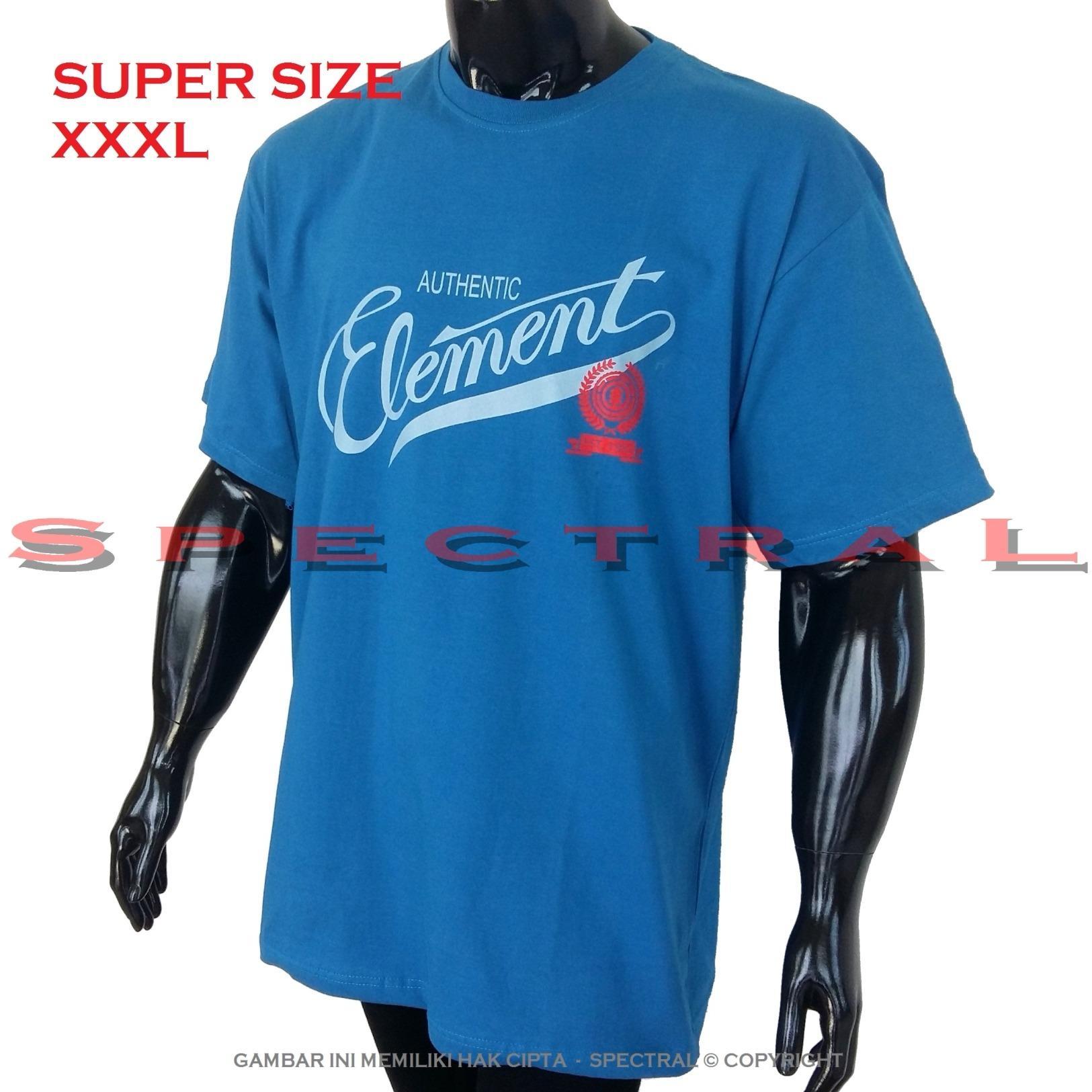 Spectral – 3XL SUPER BIG SIZE XXXL 100% Cotton Combed Kaos Distro Jumbo BIGSIZE T-Shirt Fashion Ukuran Besar Polos Celana Atasan Pria Wanita Katun Bapak Orang Tua Gemuk Gendut Simple Sport Casual Halus Baju Cowo Cewe Pakaian Super Size 3L ELEMENT BIRU