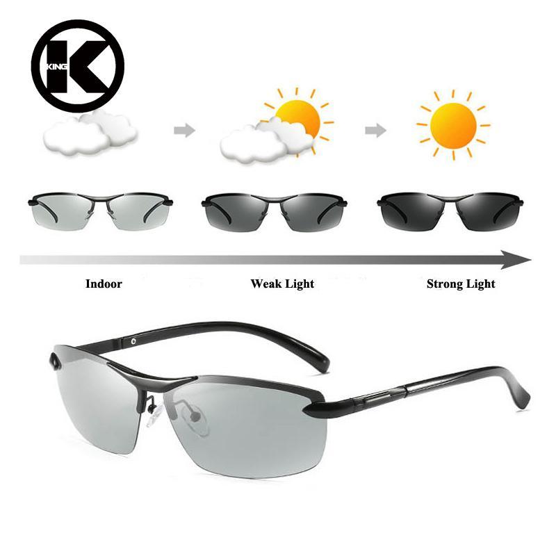 Pria Photochromic Terpolarisasi Kacamata Hitam Kacamata Hitam Berubah Warna Pria Aluminium Kacamata Polaroid Anti Silau HD