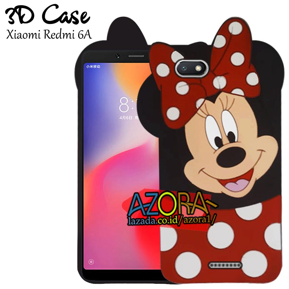 3D Case Xiaomi Redmi 6A 2018 Softcase 4D Karakter Boneka Mickey Mouse Lucu Character Cartoon