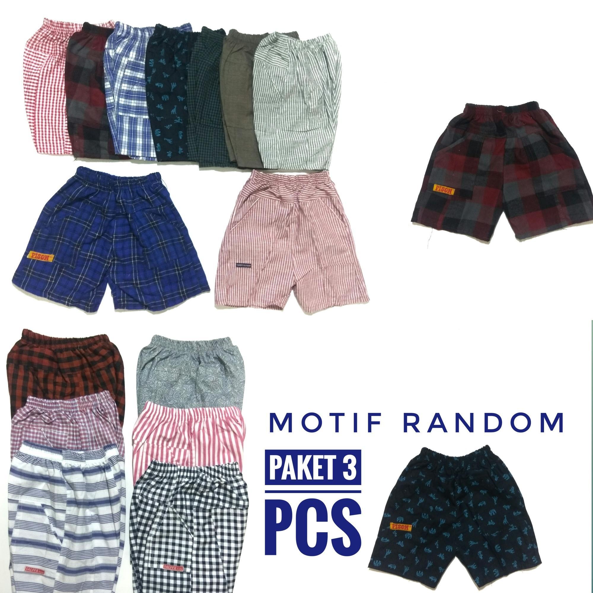 paket 3 pcs celana santai anak motif dan polos size s m dam L