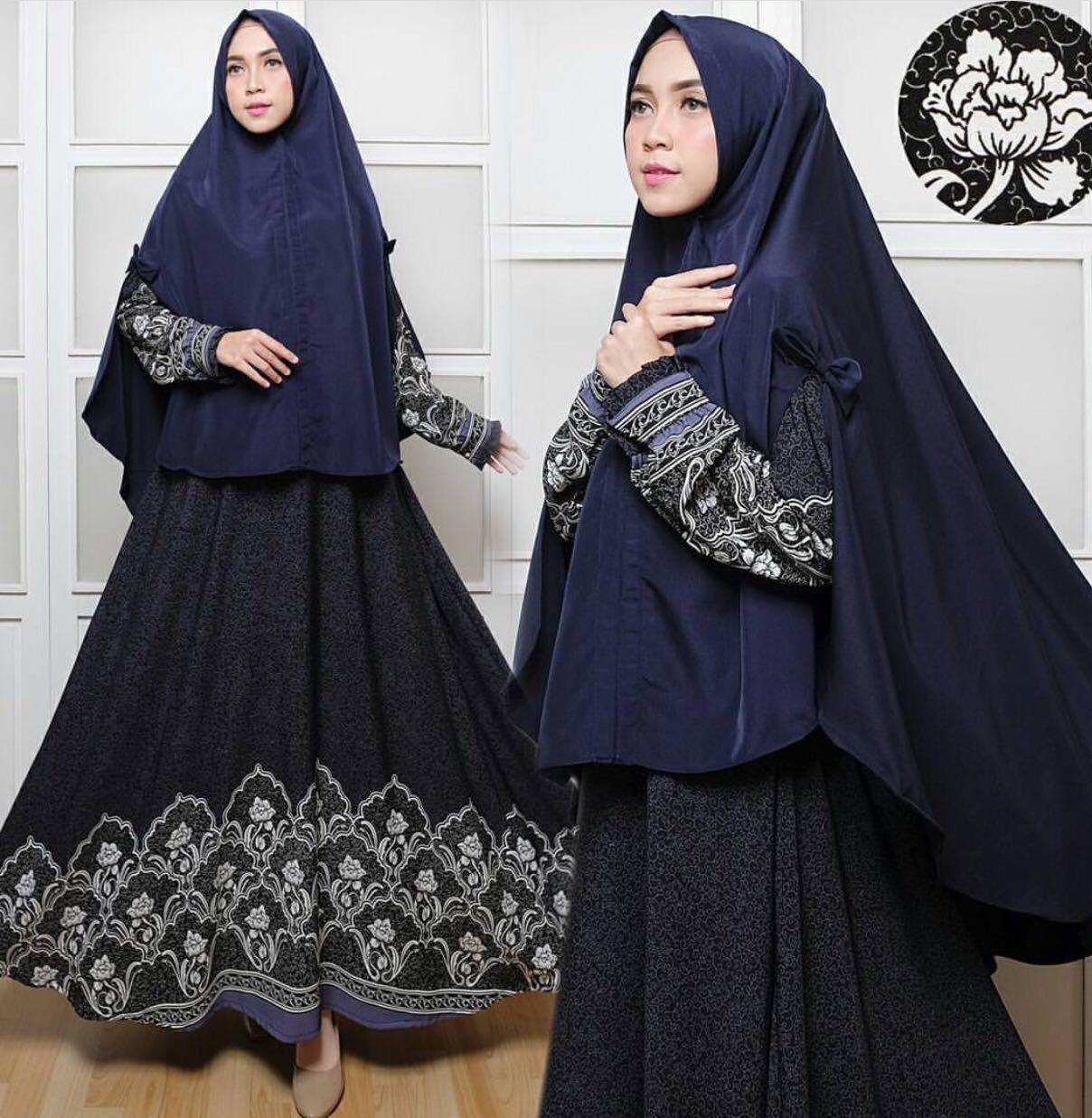 Gamis syari khimar pinguin panjang batik cantik keren real pict branded original