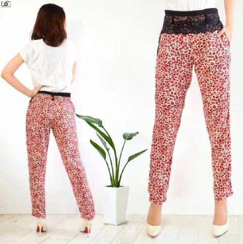 [Pants Leopard Merah SW] celana wanita Rayon bangkok merah