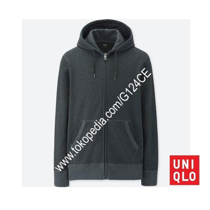 Jaket Pria Uniqlo Sweat Hoodie Retsleting 400330 Abu Tua Dark Grey 08