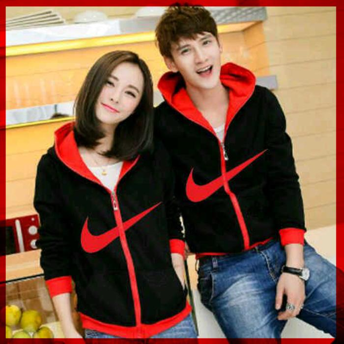[Cp Jkt Nike CL] Jaket Couple Babyterry Hitam