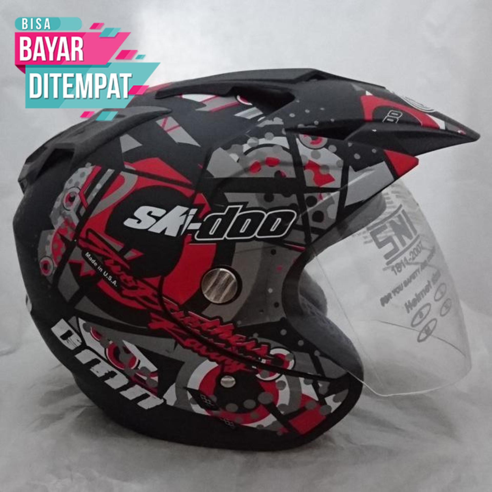 [Promo Best Seller] Helm Double Visor (2 kaca) SKI Doo Blac Red Doff Kualitas Setara Helm KYT INK GM WTO MSR BMC NHK