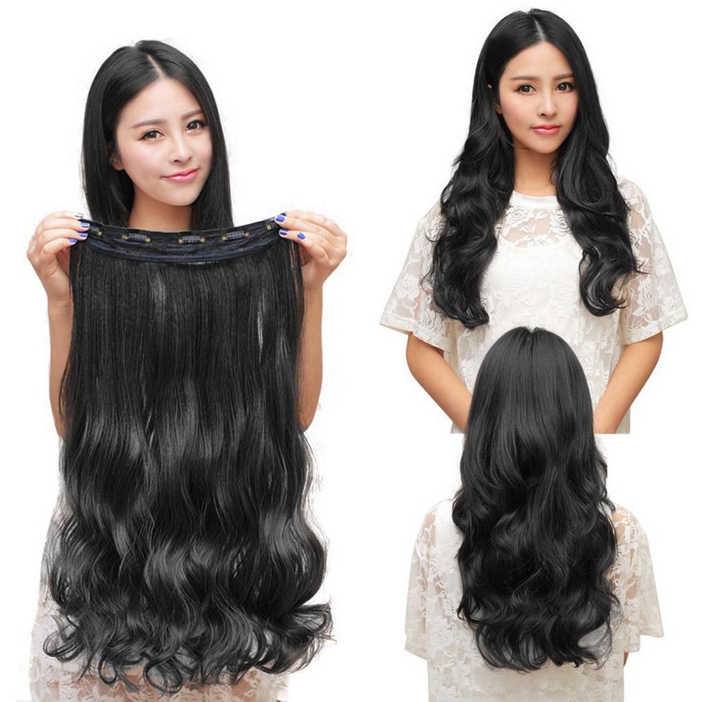 Fashion 3/4 Penuh Kepala Klip Di Ekstensi Rambut Lurus Keriting With 5 Klip Rambut Panjang Keriting (hitam)