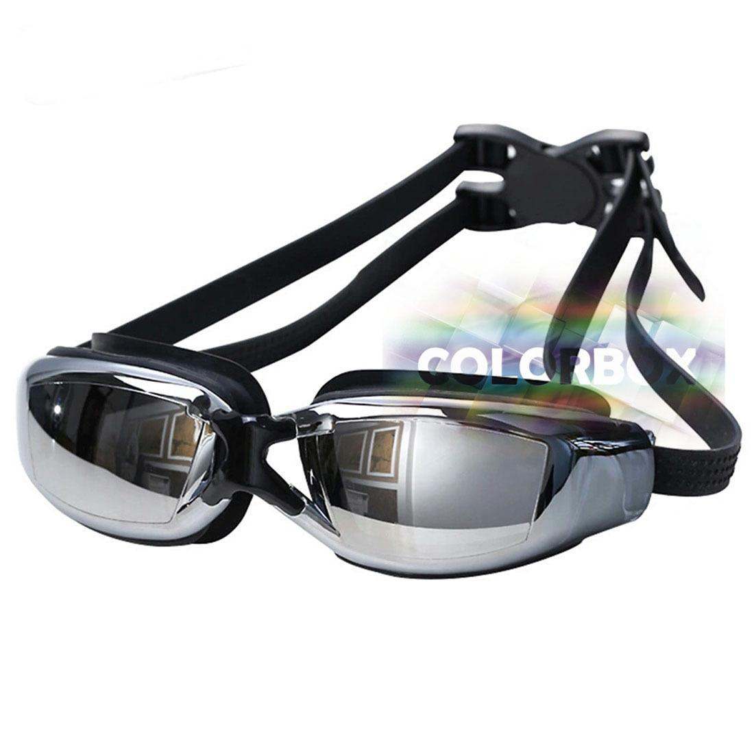 MR Kaca Mata Renang Santai Kacamata Renang Swimming Goggles Mirror Anti Fog Uv Protection Anti Kabut + Kotak Luxury Crystal Transparant  - Hitam