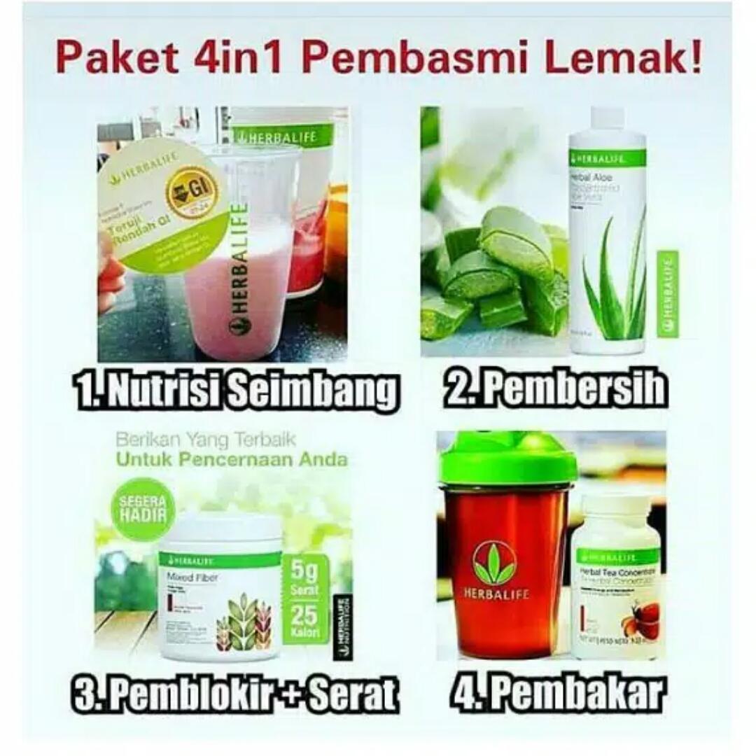 herbalife_#paket pembasmi lemak 4 in 1 (shake, aloe, mix fiber, thermo tea)