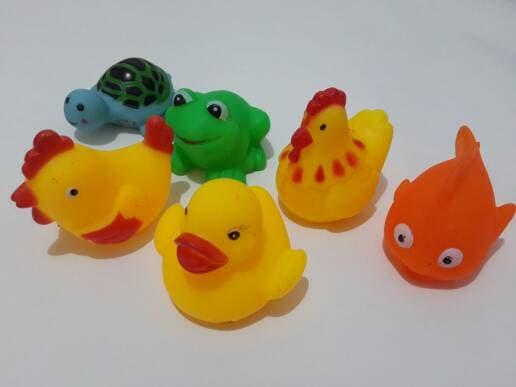 Mainan Bebek karet Kuning (6pcs) Mainan mandi Bunyi untuk Anank baby