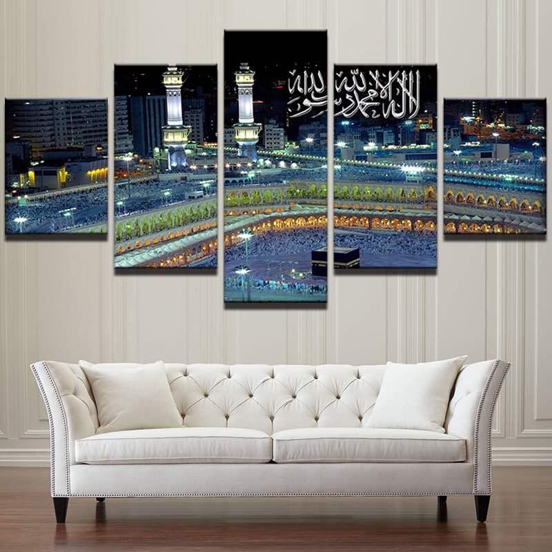 Modern Dinding Islam Gambar Seni 5 Pieces Muslim Masjid Bangunan Lukisan untuk Kamar Tidur Gambar Dekorasi Rumah Poster Unframed