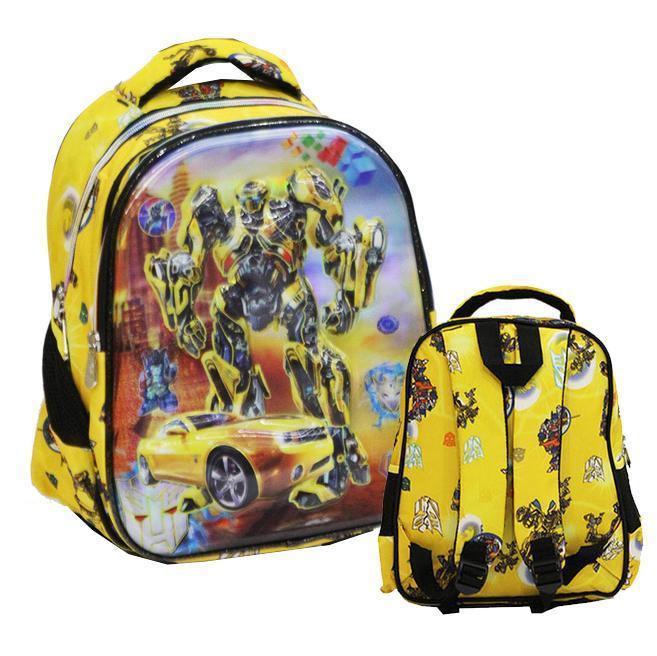Onlan Tas Ransel Anak Sekolah TK Atau PG Import Transformers 5D Timbul Hologram Dua Kantung - Yellow