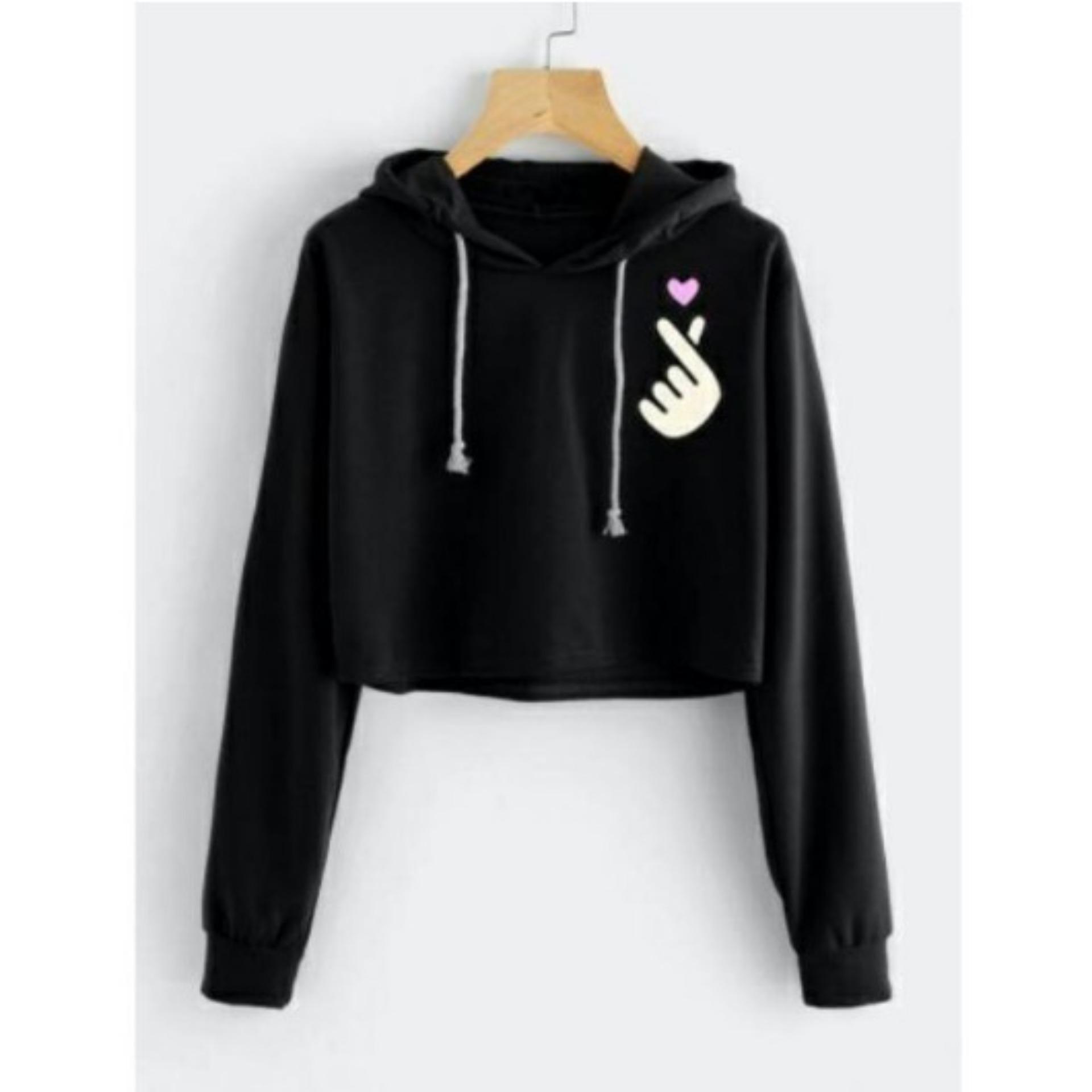 MichelleStore Sweater Wanita Crop BUNGA TULIP - White. Source · HnK Sweater  Wanita Crop Hoodie 91a3fcdcfc